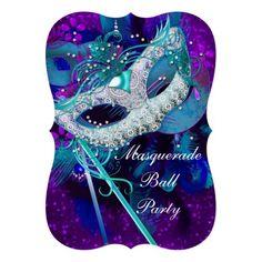 Masquerade Ball Party Teal Blue Purple Masks B