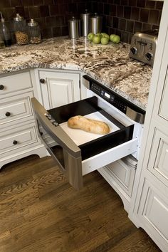 Warming Drawer in a cabinet Kitchen Cabinet Accessories, Custom Cabinetry, Home Remodeling, Countertops, Drawers, Kitchen Cabinets, Appliances, Houses, Home Decor