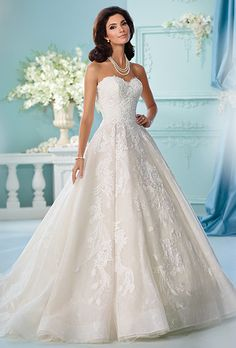 Brides: David Tutera for Mon Cheri. Strapless full A-line wedding dress features layers of tulle, organza and allover embroidered lace. Sweetheart neckline, bodice and skirt trimmed with Venise lace appliqués. Horsehair hem and chapel-length train. Detachable spaghetti and halter straps included.