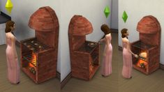 Mod The Sims - Medieval stove-grill-fireplace with animated fire