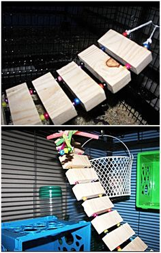 DIY Wooden Bridge for Cage | Drill holes in Jenga pieces and use strong rope that will hold with beads in between wood pieces