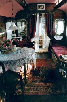 An amazing interior of a gypsy wagon.  Elegant, gorgeous, WOW!... love!