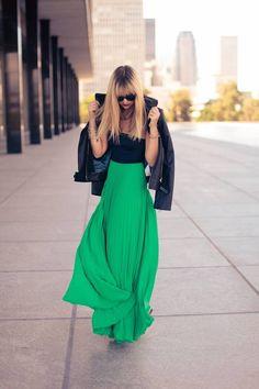 Kelly green maxi skirt