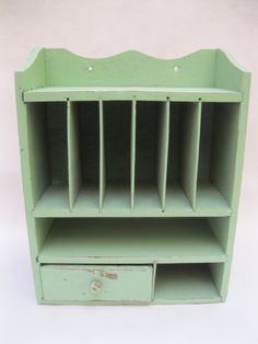 Mint Green Shabby Chic Wall or Desk top Storage Organizer