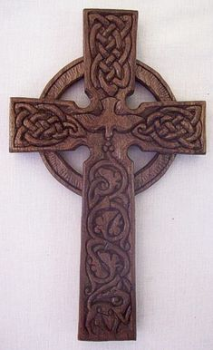 Black Walnut cross.  Dove of the holy spirit in center.
