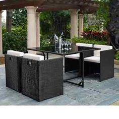 Outdoor Patio Set 5 Piece Wicker Deck Furniture Dining Table Bistro Barbecue, Black with Cream cushions Wicker Dining Set, Outdoor Dining Set, Outdoor Kitchen Design, Patio Dining, Outdoor Living, Outdoor Decor, Dining Table, Outdoor Kitchens, Dining Sets