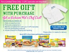 Get an exclusive Tenderflake Kids Executive Chef coat with only 5 UPC's + S & H. Hurry, offer available only while supplies last! Executive Chef, Free Gifts, Coupons, Chef Jackets, Crafts For Kids, Snack Recipes, Chips, Coat, Giveaways