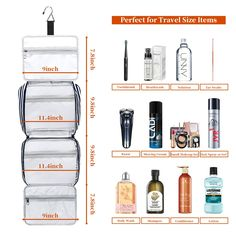 Hanging Travel Toiletry Bag,Cosmetic Travel Toiletry Organizer for Women with 4 Compartments & 1 Sturdy Hook,Perfect for Travel/Daily Use Shaving Razor, Listerine, Travel Toiletries, Makeup Set, Mouthwash, Toiletry Bag, Shampoo And Conditioner, Travel Size Products, Lotion