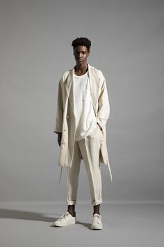 HOMME 2020 S/S 012, French Linen Twill Double Breasted Reefer Jacket CRC-J05-301H, Slab Pile Jersey T-shirt CRC-T11-012, French Linen Twill High Waist Tapered Pants CRC-P07-301 Double Breasted, High Waist, Normcore, French, T Shirt, Pants, Jackets, Style, Fashion
