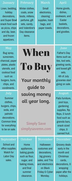 When To Buy: A Monthly Guide - Finance tips, saving money, budgeting planner Ways To Save Money, Money Tips, Money Saving Tips, How To Make Money, Money Savers, Hide Money, Money Hacks, Info Board, Zelt Camping