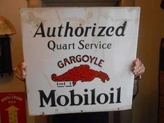 "Vintage Sign Mobil oil Gargolye Porcelain Single Sided Gas Size 20x20"" #MobiloilGargoyle"