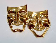 2026~Vintage Goldtone Figural Comedy Tragedy Mask Brooch Pin** | Jewelry & Watches, Vintage & Antique Jewelry, Costume | eBay!