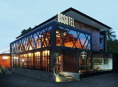 Ossotel Legian Hotel Bali indulge in stylish modern amenities offered by one of the best hotels at centre of the iconic Padma Legian beach Restaurant Exterior Design, Cafe Exterior, Design Exterior, Facade Design, House Design, Restaurant Facade, Retail Architecture, Modern Architecture, Building Facade