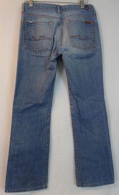 "Seven 7 for All Mankind Women Pants Blue Jean Bootcut 27 27""x28"" Orange Stitch #7ForAllMankind #Bootcut"