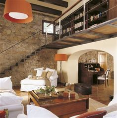 Take advantage of the height and create a mezzanine rnrnSource by maraastillero Tiny Loft, Indoor Balcony, Loft Room, Antibes, Home Libraries, Interior Decorating, Interior Design, Piece A Vivre, Vintage Room