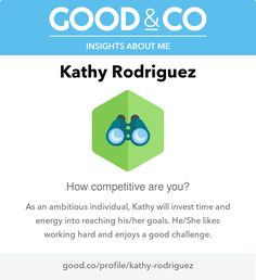 "I'm discovering my personality with Good&Co! This is what they have to say about me so far: ""As an ambitious individual, you'll invest time and energy into reaching your goals. You like working hard and enjoy a good challenge."""