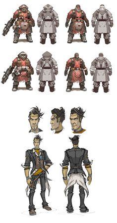Handsome Jack and Enemies - Borderlands 2 Concept Art