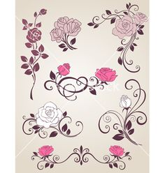 Roses decorative vector 996536 - by Artspace on VectorStock®
