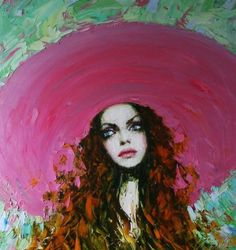 Solange   Taras Loboda. I just love the short strokes used throughout the hair/background playing against the big swooping strokes used for the hat. this one just makes me happy. :)   #art #Loboda