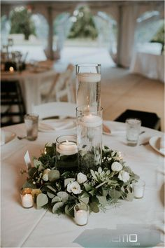 Oct 29, 2016 - This Oatlands Historic House and Gardens wedding features organic minimalist décor, a stunning modern bridal look, and tons of romance.#bedroomdecorforsmallrooms Romantic Wedding Centerpieces, Wedding Table Settings, Wedding Flower Arrangements, Simple Wedding Table Decorations, Floral Arrangements, Floating Candles Wedding, Garden Wedding Decorations, Ceremony Decorations, Table Flower Settings