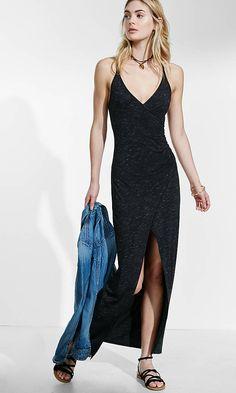Surplice Wrap Strappy Hi-lo Dress | Express