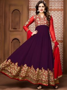 Raisin and Red Party Wear Anarkali Suit
