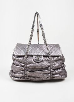 """Metallic Silver Leather Quilted Chanel """"Sharpei"""" Flap Shoulder Bag"""