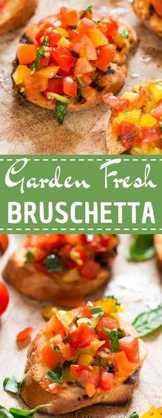Garden fresh tomato bruschetta our favorite finger food and the best part - it needs 10 minutes of prep work. It's light, fresh, and packs big flavors. Ideal for a summer gathering with friends, this easy Italian starter is fresh, tasty and full of flavour . Can be serves as light lunch or snack!  #tomatobruschetta #bruschettarecipe #gardenfresh #summerrecipes #tomatorecipes #lightsnack #healthysnack #freshtomatoes #snacks