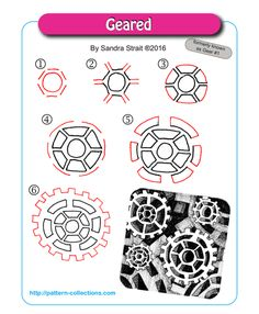 Geared tangle pattern by Sandra Strait PatternCollections.com