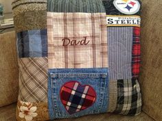 Sew Men Clothes Dads favorite t shirts flannels made into a custom pillow to remember him with sweet, warm memories. Old Shirts, Dad To Be Shirts, Flannel Shirts, Fabric Crafts, Sewing Crafts, Sewing Projects, Memory Pillows, Memory Quilts, Memory Pillow From Shirt