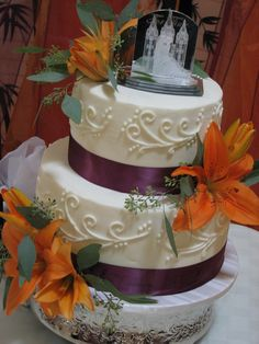 orange and purple wedding | Decadent Designs: Heather and James Plum and Orange Wedding Cake