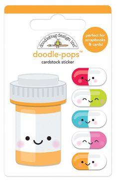 Doodlebug Design So Much Pun Doodle Pops Pill Better Stickers Scrapbooking, Scrapbook Cards, Nurses Week Quotes, Medical Pictures, Cool Doodles, Pop Stickers, Medical Humor, Medical Illustration, Card Kit