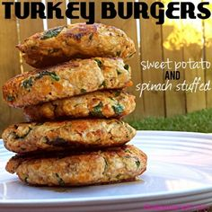 Ripped Recipes - Sweet Potato & Spinach Turkey Burgers - Carbs, Protein & Veggies all rolled into one!