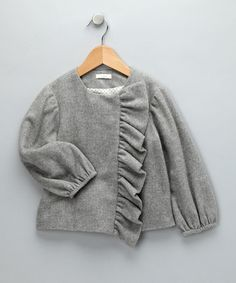 Take a look at this Gray Ruffle Jacket - Toddler & Girls by anaïs & I on #zulily today!