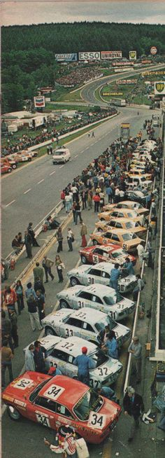 Spa Francorchamps pit lane and view to Eau Rouge. 1974