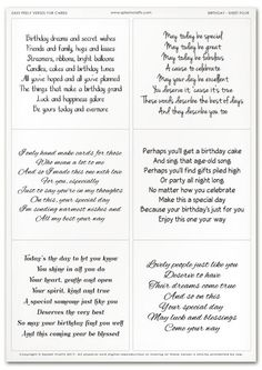 Easy Peely Verses for Cards – Birthday Sheet 4 – Adele Pins Christmas Card Verses, Birthday Verses For Cards, Birthday Card Messages, 1st Birthday Cards, Birthday Poems, Birthday Card Sayings, Birthday Card Template, Birthday Sentiments, Masculine Birthday Cards