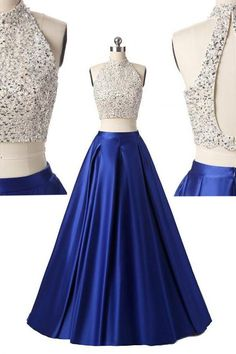 Women's Sexy Two Pieces Beaded Sequins Sparkly Bodice A-line Royal Blue Prom Dresses,Long 2 Piece Open Back Evening Party Dresses PD281