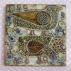 Two Birds Vintage Wall Tile Lisa Larson Gustavsberg Sweden Unik 1962 Ceramic Wall Art, Ceramic Birds, Ceramic Clay, Ceramic Pottery, Pottery Art, Wall Tile, 3d Art, Clay Tiles, Art Tiles