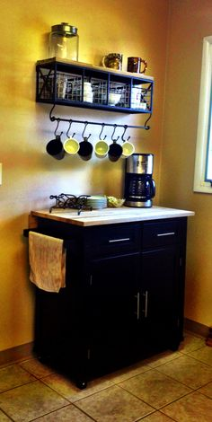 Baby Rube, that's the rack that's going over my tea cart in my #coffeestation ... I think I like the idea of a coffee bar/station