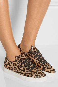 White rubber sole measures approximately 20mm/ 1 inch Leopard-print calf hair Lace-up front  Come with an adhesive Polaroid picture which can be placed on the outside of your shoe box