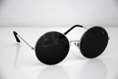 Metal Round Circle Ozzy Elton John Black Tint Lennon Style Sunglasses