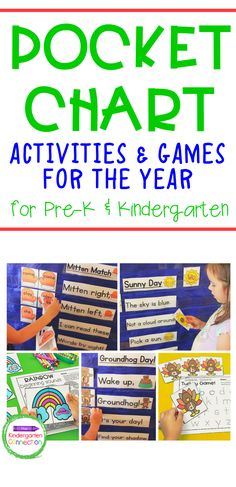 What's better than one great pocket chart activity? A pocket chart bundle with activities for the entire year! This Pocket Chart Activities & Centers Bundle resource for Pre-K and Kindergarten is jam-packed with 10 sets of monthly pocket chart activities! Plus, there are recording sheets that go with each activity. So you can easily take your learning from circle time to centers without extra work! Literacy Skills, Kindergarten Literacy, Alphabet Activities, Literacy Activities, Activity Centers, Literacy Centers, Number Recognition Activities, Cvce Words, Extra Work