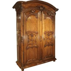 Early 1700's French Walnut Wood Chateau Armoire, 'The Order of Saint Louis' #rubylane #antiquefurniture