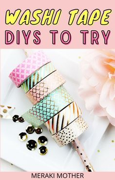 DIY your entire home with washi tape! Get all the best washi tape ideas and inspiration with our ultimate list of 70+ DIYs! #washitapeDIY #homeDIY #washitape Diy Washi Tape Crafts, Easy Diy Crafts, Crafts To Make, Crafts For Kids, Craft Projects For Adults, Diy Craft Projects, Craft Ideas, Fun Arts And Crafts, General Crafts