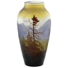 Emile Gallé French Art Nouveau 'Vosges' Landscape Cameo Glass Vase | From a unique collection of antique and modern vases and…