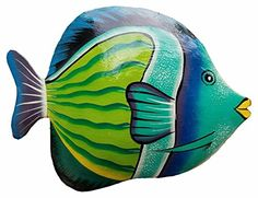 Colorful Ceramic Fish Plates - Set of 6 - Heather Williams Wood Fish, Metal Fish, Fish Wall Art, Fish Art, Tropical Decor, Tropical Fish, Underwater Art, Cartoon Fish, Caran D'ache