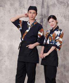 Unisex Coreia Do estilo Japonês médio luva chef cozinheiro camisa top uniforme garçom restaurante desgaste do trabalho cozinheiro terno flor impressão Y624 em Chef Jackets de Novidade e de uso especial no AliExpress.com | Alibaba Group