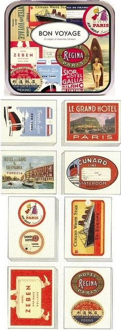 Fun vintage travel stickers, like the kind people used to put on the outside of their suitcases and trunks. Luggage Stickers, Luggage Labels, Travel Themes, Travel Posters, Vintage Labels, Vintage Posters, Travel Stamp, World Thinking Day, Passport Stamps
