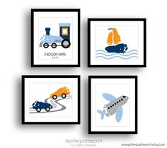 Transportation Nursery Art Print Set, Train, Airplane, Car, Sailboat Wall Art, Baby Footprint Art, Personalized Boys Room Decor, Baby Art