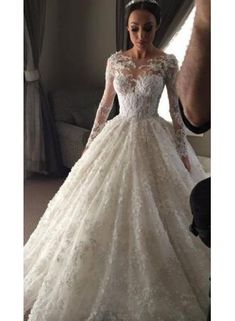 New Arrival Ball Gown Princess Dress Long Sleeve Lace Wedding Dress